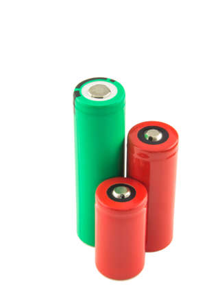 Cylindrical lithium batteries isolated on white background photo