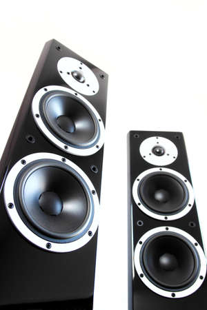 two party system: Black audio speakers