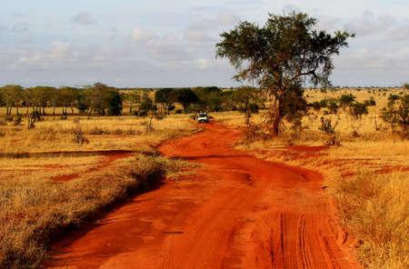tsavo: usty safari road in Tsavo East National Park, Kenya Stock Photo