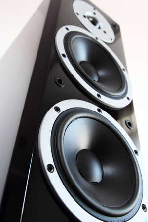 Black high gloss audio speakers