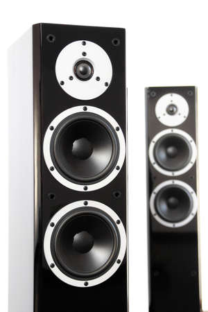 two party system: Black high gloss audio speakers