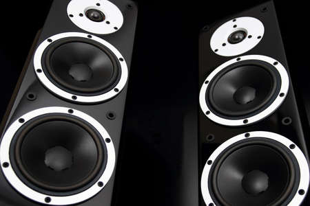 Black high gloss audio speakers photo