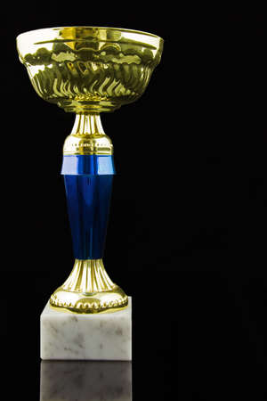 Gold trophy and medal, black background, vertical Stock Photo