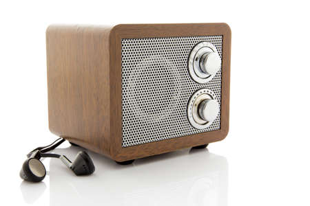 Retro style mini radio player isolated on white background Stock Photo - 25366215