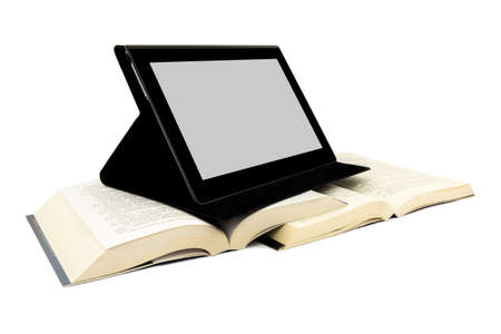 Modern way of reading concept  Books and a tablet device  photo