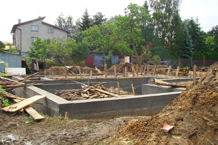 strong base: Foundations of a new house