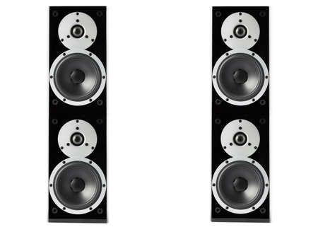 Pair of black high gloss music speakers isolated on white  photo