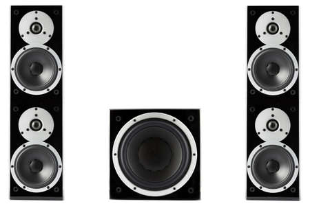stereo subwoofer: Pair of black high gloss music speakers and subwoofer isolated on white background Stock Photo