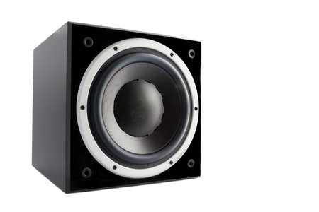 Black high gloss subwoofer isolated on white background