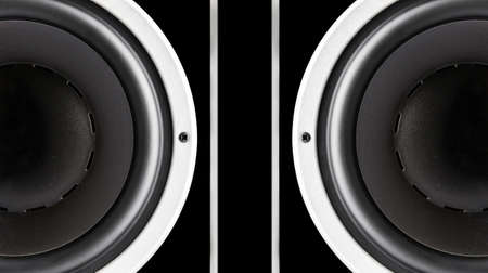 two party system: Pair of black sound speakers membrane isolated on black background