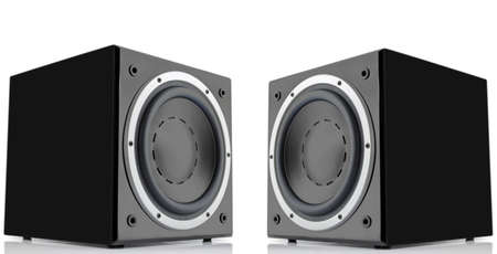 two party system: Pair of black high gloss subwoofers isolated on white background
