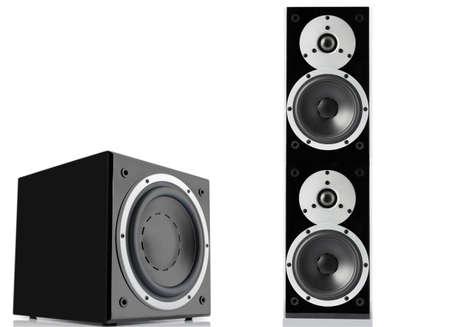 Black glossy loudspeaker and subwoofer isolated on black background Stock Photo
