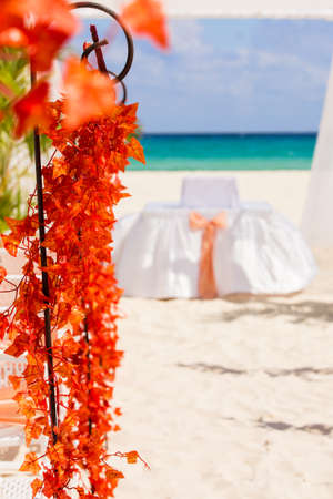 Wedding preparation on Mexican beach  photo