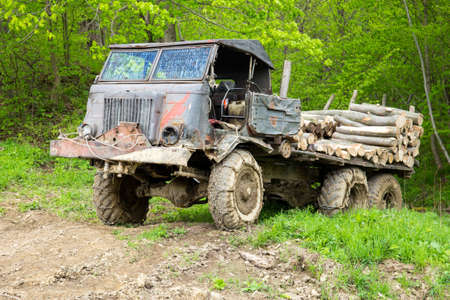 wrecked: Old wrecked truck loaded with logs in a forest