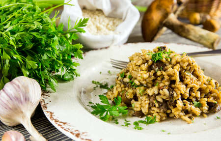 Italian risotto with mushrooms arranged on a wooden table photo