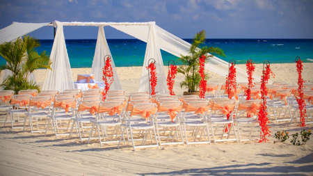Wedding preparation on Mexican beach against a background of beautiful sea
