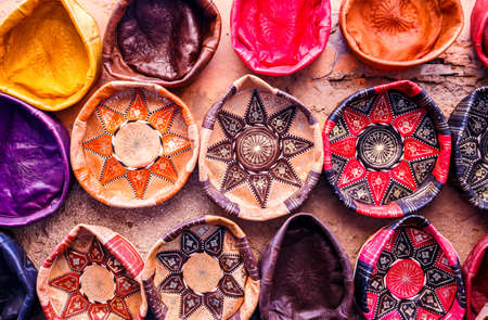 made in morocco: Traditional handmade leather souvenirs in Essaouira, Morocco