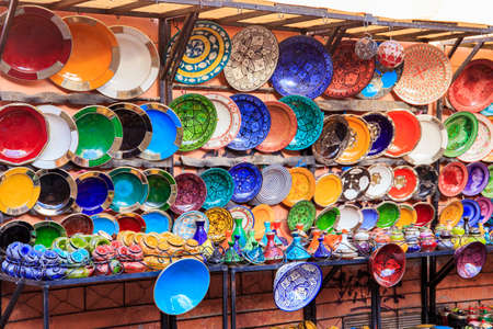 Traditional ceramic pottery in Marrakesh, Morocco