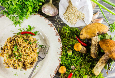spunk: Italian risotto with mushrooms on a wooden table