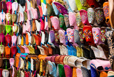 made in morocco: Colorful handmade leather shoes in Marrakesh, Morocco Stock Photo