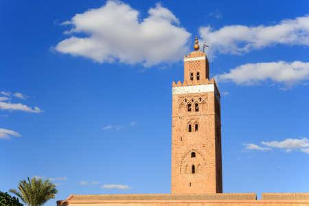 showplace: Koutoubia Mosque Minaret in Marrakesh city, Morocco.