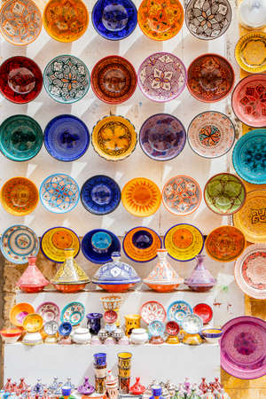 made in morocco: Traditional ceramic pottery in Essaouira, Morocco