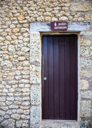 toilet door: Brown wooden locked toilet door