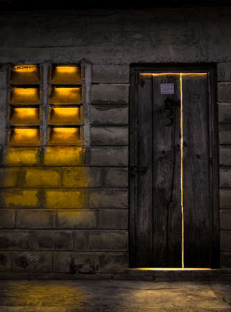Mysterious building with bright light coming out from inside