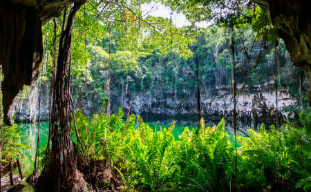 Cenote von Santo Domingo, Dominikanische Republik Standard-Bild