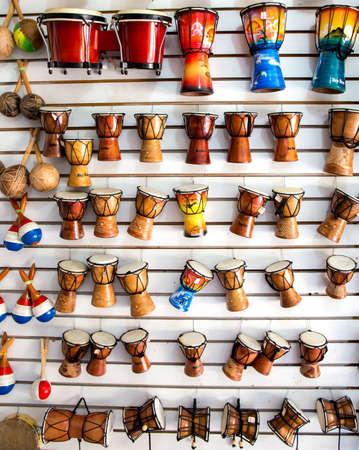 Caribbean music instruments in Dominican Republic tourist shop photo