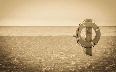 mexico beach: Life preserver on sandy beach somewhere in Mexico