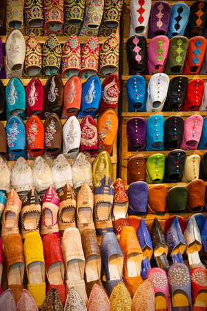 marrakesh: Colorful handmade leather shoes in Marrakesh, Morocco Stock Photo
