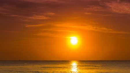 coast: Beautiful sunrise over Caribbean sea in Mexico