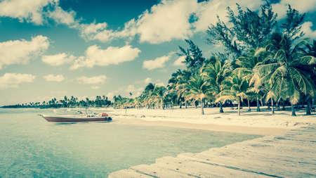 Beautiful caribbean beach on Saona island Dominican Republic