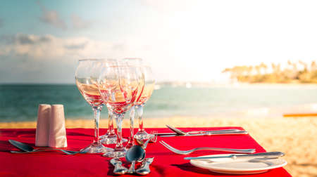 Party table on caribbean beach in Dominican Republic