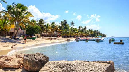 Beautiful caribbean beach on Saona island, Dominican Republic Editorial