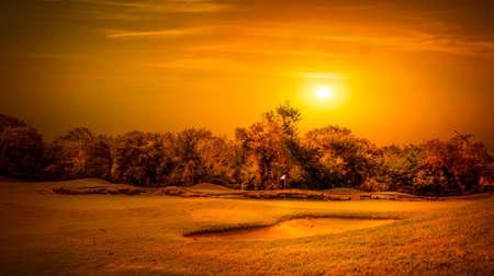 mayan riviera: Sunrise over beautiful golf course on mayan riviera in Mexico