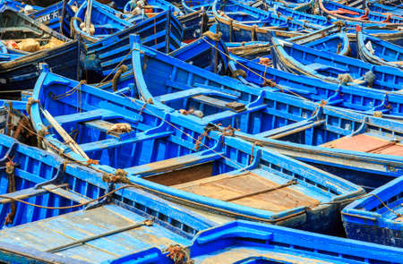 Beautiful blue boats in old Essaouira harbor, Morocco