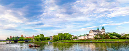 michael the archangel: CRACOW KRAKOW, POLAND - MAY 09, 2015: Panorama of antique St. Michael Archangel and royal Wawel Castle in Cracow Krakow, Poland