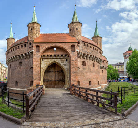 cracow: Cracow, Poland - MAY 02, 2015: anonymous tourists visiting the Barbican fortress in Cracow Krakow, Poland Editorial