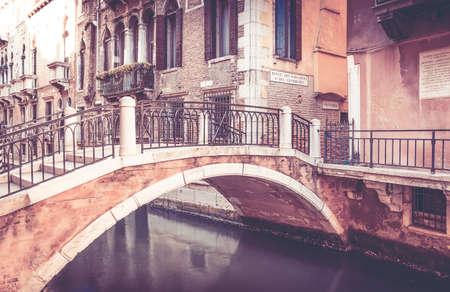 venice: Beautiful bridge in antique Venice city, Italy Stock Photo