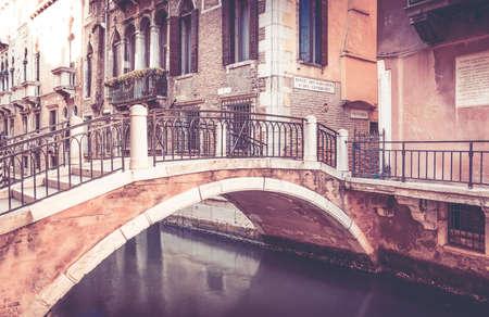 Beautiful bridge in antique Venice city, Italy Standard-Bild