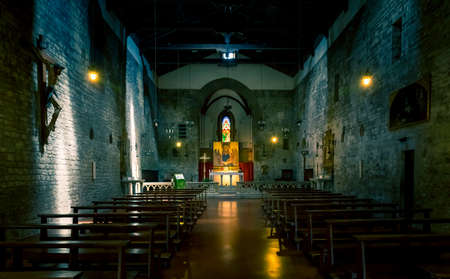 settles: Interior of tuscan San Michele church in Arezzo city, Italy