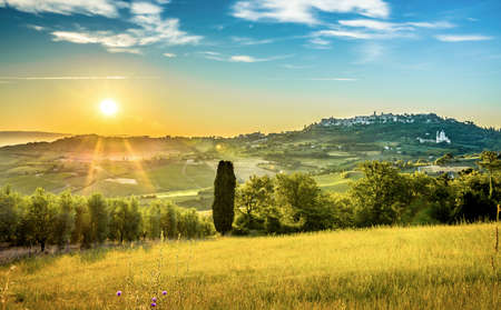 montepulciano: Fields of Tuscany and historic Montepulciano town in the background