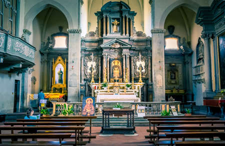 Interior of tuscan San Francesco church in town Cortona, Italy Editorial