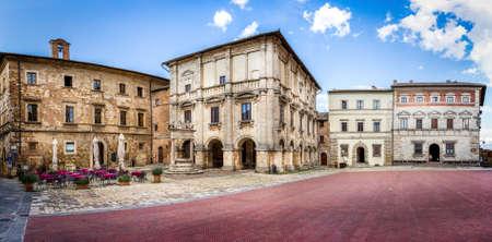 montepulciano: Panorama of Piazza Grande in old Montepulciano city, Italy Editorial