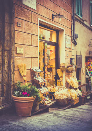 montepulciano: MONTEPULCIANO, ITALY - JUNE 25, 2015: typical tuscan shop with pasta and olive in antique Montepulciano city, Italy