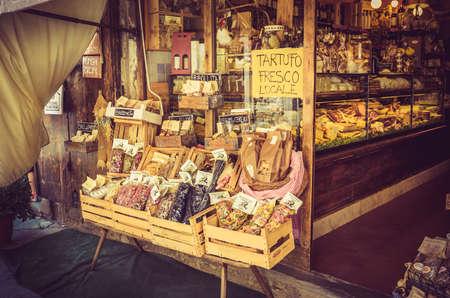 AREZZO, ITALY - JUNE 26, 2015: smal past shop in antique tuscan Arezzo city, Italy