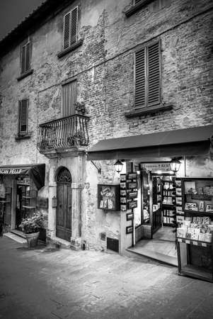 june 25: MONTEPULCIANO, ITALY - JUNE 25, 2015: black white photo of book items in the Tuscan town shop in Montepulciano, Italy