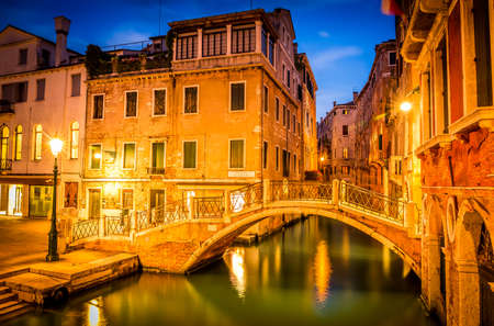 venice canal: Amazing narrow canal in Venice in the evening, Italy